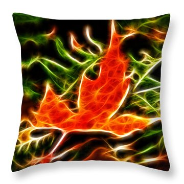 Fractal Maple Leaf Throw Pillow by Andre Faubert