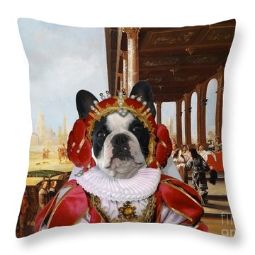 French Bulldog Art Canvas Print Throw Pillow
