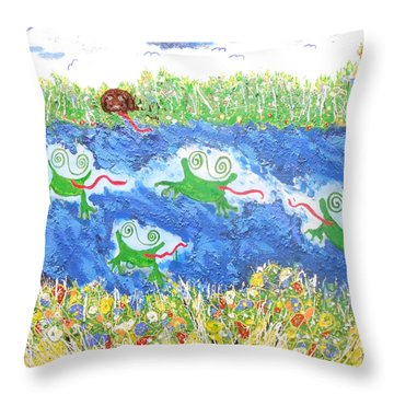 4 Frogs And A Bear Throw Pillow