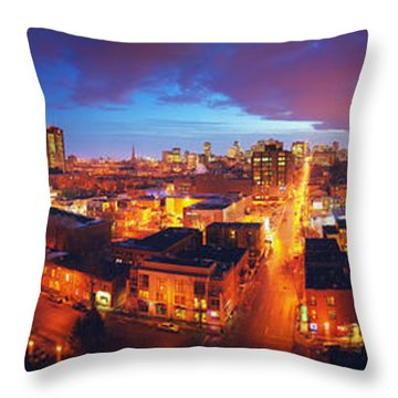 High Angle View Of A City Lit Throw Pillow