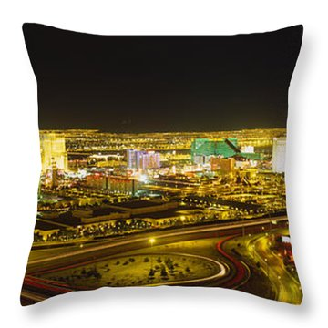 High Angle View Of Buildings Lit Throw Pillow
