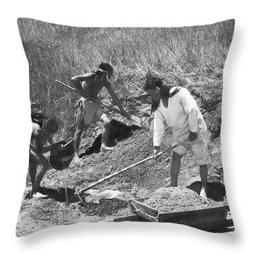 Indians Making Adobe Bricks Throw Pillow