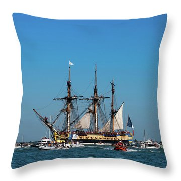 Lhermione Ship In The Estuary Throw Pillow