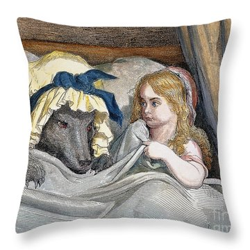 Little Red Riding Hood Throw Pillow by Granger