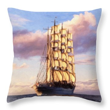 4 Mast Barque Throw Pillow