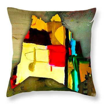Nashville Map Watercolor Throw Pillow by Marvin Blaine
