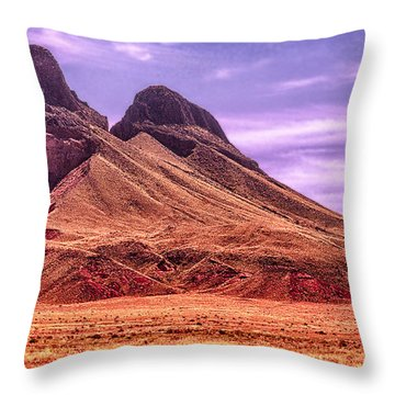 Navajo Nation Series Along 87 And 15 Throw Pillow by Bob and Nadine Johnston