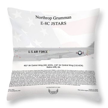 Throw Pillow featuring the digital art Northrop Grumman E-8c Jstars by Arthur Eggers