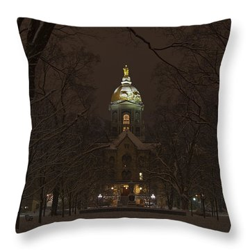 Notre Dame Golden Dome Snow Poster Throw Pillow