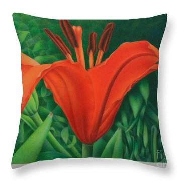 Throw Pillow featuring the painting Orange Lily by Pamela Clements