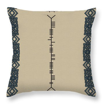 Throw Pillow featuring the digital art O'sullivan Written In Ogham by Ireland Calling
