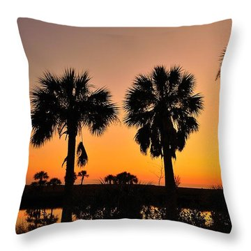 4 Palms In After Glow Throw Pillow