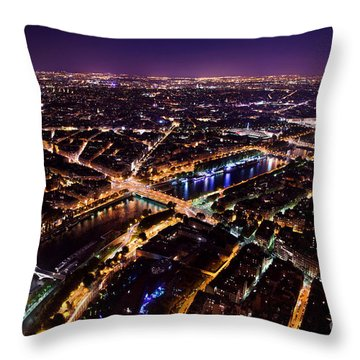 Paris Panorama France At Night Throw Pillow by Michal Bednarek