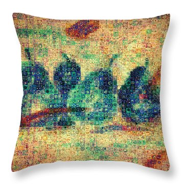 Throw Pillow featuring the painting 4 Pears Mosaic by Paula Ayers