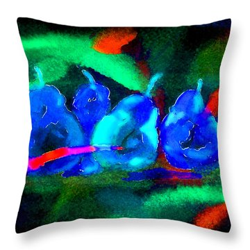 4 Pears Throw Pillow by Paula Ayers