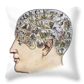 Phrenology, 19th Century Throw Pillow by Granger