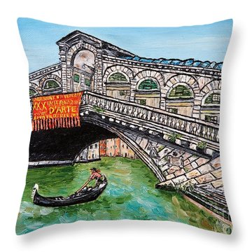 Ponte Di Rialto Throw Pillow