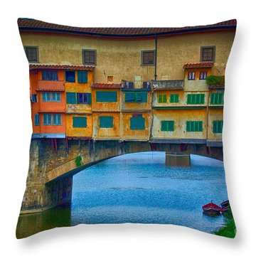 Ponte Vecchio Throw Pillow by Nicola Fiscarelli