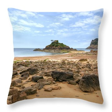 Portelet Bay - Jersey Throw Pillow by Joana Kruse