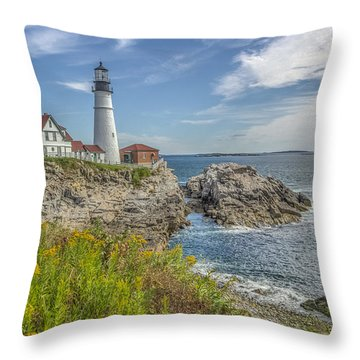 Throw Pillow featuring the photograph Portland Headlight by Jane Luxton