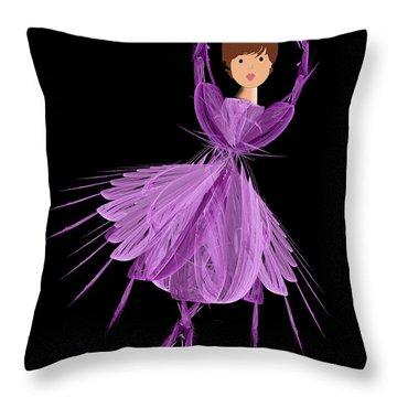 4 Purple Ballerina Throw Pillow by Andee Design