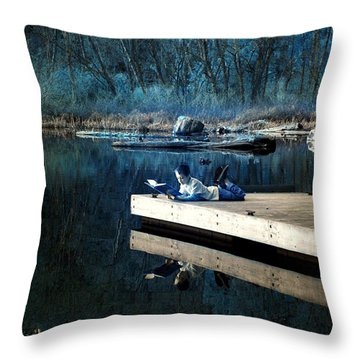 Quiet Moments Reading Throw Pillow by Rebecca Parker