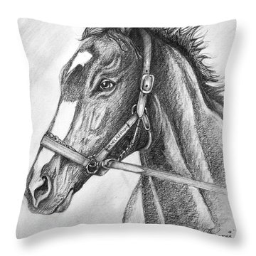 Throw Pillow featuring the drawing Rachel Alexandra by Patrice Torrillo