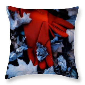 Red Gloves Throw Pillow by Joana Kruse