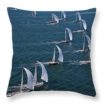 Sailboats In Swan Nyyc Invitational Throw Pillow