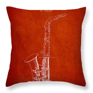 Saxophone Patent Drawing From 1937 - Red Throw Pillow by Aged Pixel
