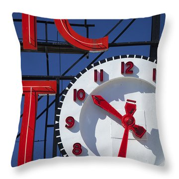 Seattle Market Sign Throw Pillow by Brian Jannsen