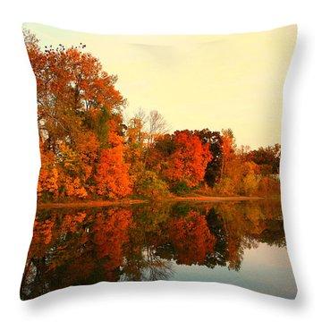 Shady Oak Lake  Throw Pillow by Amanda Stadther