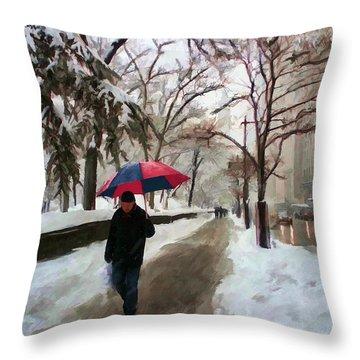 Snowfall In Central Park Throw Pillow