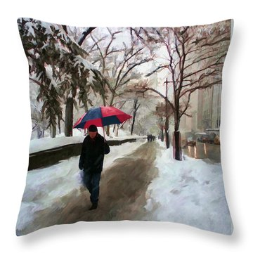 Snowfall In Central Park Throw Pillow