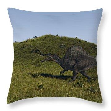 Spinosaurus Walking Across A Grassy Throw Pillow by Kostyantyn Ivanyshen