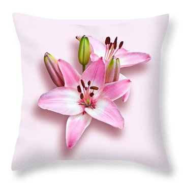 Spray Of Pink Lilies Throw Pillow