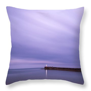 Stunning Long Exposure Landscape Lighthouse At Sunset With Calm  Throw Pillow by Matthew Gibson