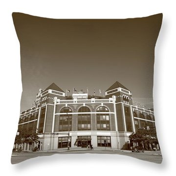 Texas Rangers Ballpark In Arlington Throw Pillow by Frank Romeo