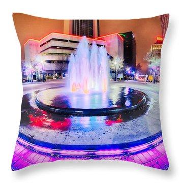 Tulsa City Skyline Around Downtown Streets Throw Pillow