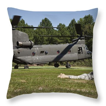 U.s. Soldiers Provide Security Throw Pillow by Stocktrek Images