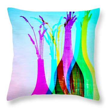 4 Vases In Colored Light Silhouettes Throw Pillow