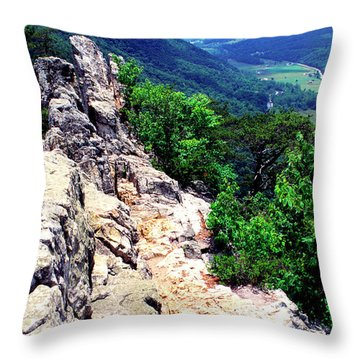 View From Atop Seneca Rocks Throw Pillow by Thomas R Fletcher