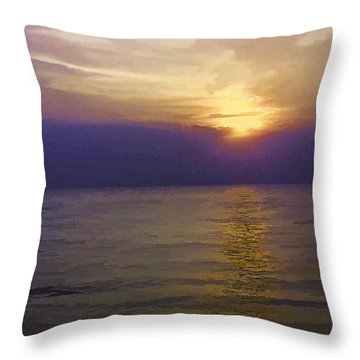 View Of Sunset Through Clouds Throw Pillow by Ashish Agarwal