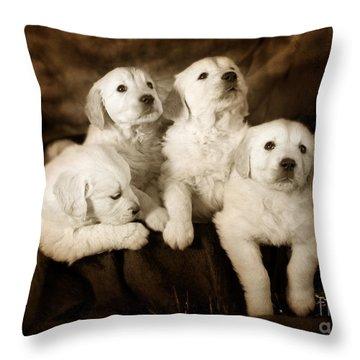 Vintage Festive Puppies Throw Pillow by Angel  Tarantella