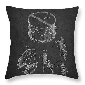 Vintage Snare Drum Patent Drawing From 1889 - Dark Throw Pillow