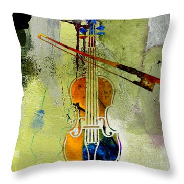 Violin And Bow Throw Pillow by Marvin Blaine