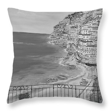Throw Pillow featuring the painting Vista Su Positano by Loredana Messina