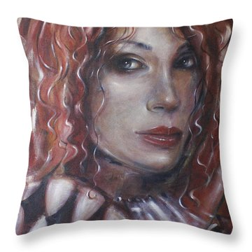 Throw Pillow featuring the painting Who Is The Clown 140609 by Selena Boron