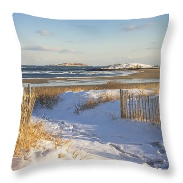 Winter At Popham Beach State Park Maine Throw Pillow