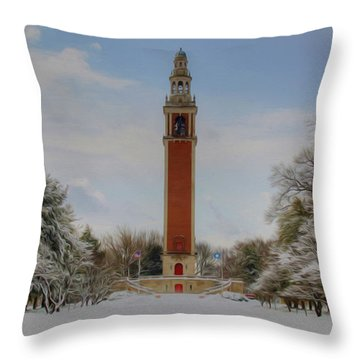 Winter At The Carillon Throw Pillow by Kelvin Booker